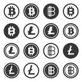 Bitcoin and Litecoin Crypto Currency Icons Set. Vector. Illustration Royalty Free Stock Images
