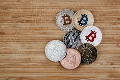 Bitcoin Litecoin Dogecoin Στοκ Εικόνες