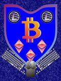Bitcoin - Litecoin - Ethereum - coat of arms. Bitcoin - Litecoin and Ethereum coat of arms with keyboard and mouse support on Elephant skin blue background Stock Photos