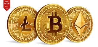 Bitcoin Litecoin Ethereum 3D等量物理硬币 数字式货币 Cryptocurrency 与bitcoin的litecoin的金黄硬币 库存图片