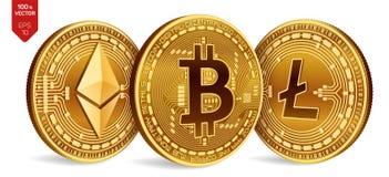 Bitcoin Litecoin Ethereum 3D等量物理硬币 数字式货币 Cryptocurrency 与bitcoin的litecoin的金黄硬币 免版税图库摄影