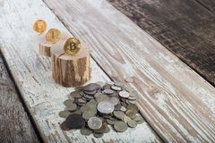Bitcoin, litecoin ethereum en oude muntstukken, gouden muntstukken Cryptocurrencyconcept: groei of val Uitstekende houten achterg Stock Afbeeldingen