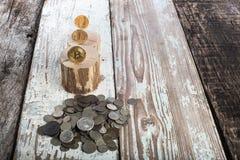 Bitcoin, litecoin ethereum en oude muntstukken, gouden muntstukken Cryptocurrencyconcept: groei of val Uitstekende houten achterg Stock Foto