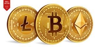 Bitcoin Litecoin Ethereum moedas 3D físicas isométricas Moeda de Digitas Cryptocurrency Moedas douradas com bitcoin, litecoin Imagem de Stock