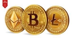 Bitcoin Litecoin Ethereum moedas 3D físicas isométricas Moeda de Digitas Cryptocurrency Moedas douradas com bitcoin, litecoin Foto de Stock