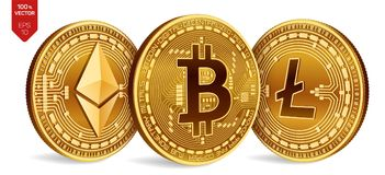 Bitcoin Litecoin Ethereum monedas físicas isométricas 3D Moneda de Digitaces Cryptocurrency Monedas de oro con el bitcoin, liteco Fotografía de archivo libre de regalías