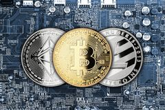 Bitcoin litecoin ethereum crypto currency computer mining concep Royalty Free Stock Photo