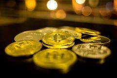Bitcoin, litecoin, etherium coins close up. Dark theme stock photos