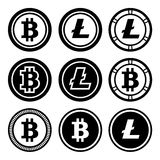 Bitcoin and litecoin icons set Royalty Free Stock Images