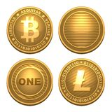 Bitcoin and Litecoin isolated on white Royalty Free Stock Image