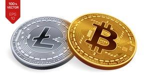 Bitcoin Litecoin isometrische körperliche Münzen 3D Digital-Währung Cryptocurrency Silbermünze mit Litecoin-Symbol und goldener M Stockfoto