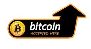 Bitcoin logo av crypto valuta med en inskrift som accepteras här på en svart bakgrund Kvarterklistermärke för slabbarking Royaltyfria Foton
