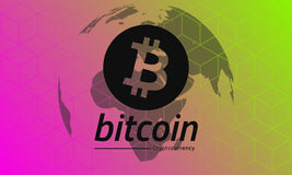 Bitcoin logo black. Red-green gradient background. Eps10 Vector.  stock illustration