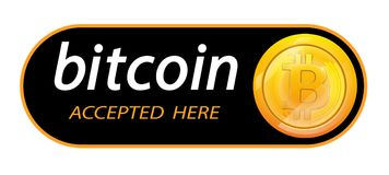 Bitcoin logo crypto waluta z inskrypcją akceptował tutaj na czarnym tle Blokowy majcher dla slabbarking Obraz Stock
