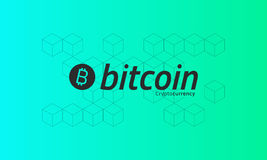 Bitcoin logo. Cubic isometric pattern. Green background. Editable eps10 vector Stock Photo