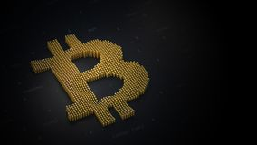 Bitcoin logo on a dark background in 3D stock photo