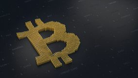 Bitcoin logo on a dark background in 3D stock photography