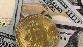 Bitcoin logo with dollar stock footage