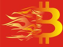 Bitcoin logo on fire. Bitcoin logo on red - yellow hot fire on red background Royalty Free Stock Images