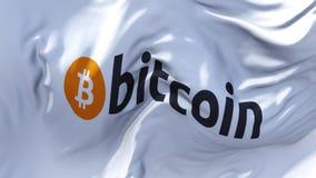 310 Bitcoin Logo Flag Waving en fondo inconsútil continuo del lazo del viento almacen de video