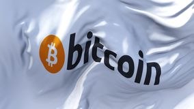 310 Bitcoin Logo Flag Waving no fundo sem emenda contínuo do laço do vento video estoque