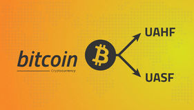 Bitcoin logo and fork arrows. UASF UAHF. Editable eps10 Vector. Royalty Free Stock Photography