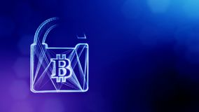 Bitcoin logo inside the lock. Financial background made of glow particles as vitrtual hologram. Shiny 3D loop animation. Bitcoin logo inside the lock. Concept of stock video footage