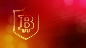 Bitcoin logo inside the shield. Financial background made of glow particles as vitrtual hologram. Shiny 3D seamless. Bitcoin logo inside the shield. Security stock video footage