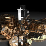 Bitcoin logo with lots of bitcoin coins Royalty Free Stock Photo