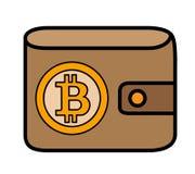Bitcoin logo na rzemiennej portfel pokrywie Zdjęcia Stock