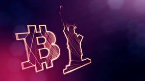Bitcoin logo och en staty av frihet Finansiell bakgrund som göras av glödpartiklar som vitrtual hologram Skinande ögla 3D royaltyfri illustrationer