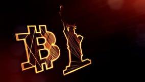 Bitcoin logo och en staty av frihet Finansiell bakgrund som göras av glödpartiklar som vitrtual hologram Skinande ögla 3D stock illustrationer