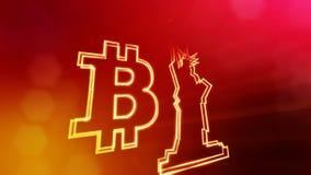 Bitcoin logo och en staty av frihet Finansiell bakgrund som göras av glödpartiklar som vitrtual hologram Skinande 3D royaltyfri illustrationer