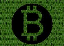 Bitcoin logo over binary code. Cripto money Black bitcoin logo over green binary code Stock Photography
