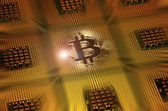Bitcoin logo over computer cpu. Royalty Free Stock Photography