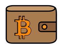 Bitcoin logo with shadow carved in leather wallet cover.  Royalty Free Stock Image
