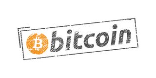 Bitcoin logo stamp Royalty Free Stock Photos