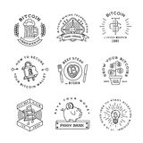 Bitcoin logo templates set. Cryptocurrency badge Stock Images
