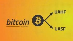 Bitcoin-Logo und Gabelpfeile UASF UAHF Editable Vektor EPS10 Lizenzfreie Stockfotografie