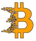 Bitcoin logo w płaskim projekcie łamającym wewnątrz małe mozaiki cegły cząsteczki Fotografia Royalty Free