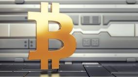 Bitcoin logo w statku kosmicznym, cryptocurrency pojęcie Stopień wzrostu złocista moneta dla projektantów i wiadomości dnia Złoci royalty ilustracja