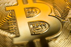 Bitcoin, macro photo stock photo