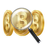 Bitcoin And Magnifying Glass Vector.. Cryptocurrency Business Concept. Cryptography, Financial Technology Royalty Free Stock Images