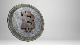 Bitcoin marble coin on grey background. With space for text . 3D render Royalty Free Stock Photography