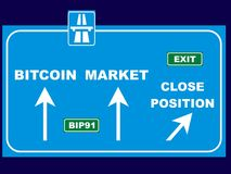 Bitcoin market direction signpost. Stock Images