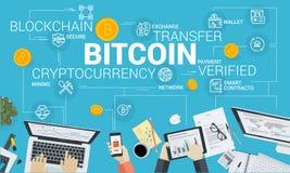 Bitcoin market. Flat design style web banner of blockchain technology, bitcoin, altcoins, cryptocurrency mining, finance, digital money market, cryptocoin wallet stock illustration