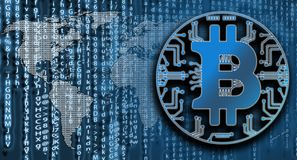 Bitcoin on matrix code background with world map. Criyptpcurency concept. Bitcoin on matrix code background with world map. Digital monetary sistem stock image