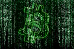 Bitcoin matrix. Bitcoin sign on the matrix background