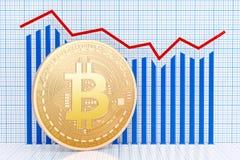 Bitcoin med det växande diagrammet 3d Royaltyfri Foto