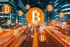 Bitcoin med suddig trafik för rörelse vektor illustrationer